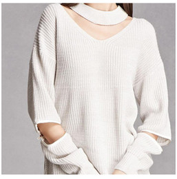 Wholesale Row Shirt - 2017 Hot Sexy Hallow Out Sweater Shirt Women Jumper Oversized Sweater Long Sleeve Women Knitwear Loose Female Pullover Clothes Tops