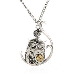 Wholesale Owl Necklace Men - Vintage Steampunk Necklace Antique Owl Clock Spider Love Pendant Chain Necklace 2016 New Jewelry For Men Women