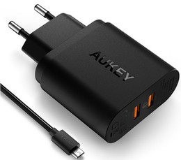 Wholesale Brand Certified - Free Shipping Certified Aukey Quick Charge 2.0 18W USB Turbo Wall Charger Fast Charger For Nexus 6 Note 4 Xperia Z3 SAMSUNG S6 Edge