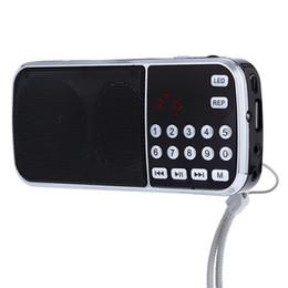 Wholesale Sound Card Usb Input - ZEEPIN Portable Digital Stereo Mini FM Radio Speaker Music Player with TF Card USB AUX Input Sound Box Black Red Blue