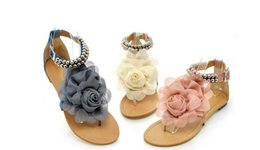 Wholesale Flat Fashion Sandals For Ladies - New Flower Sandals for Women 2017 Summer Lady Flower Slippers Fashion Women Shoes