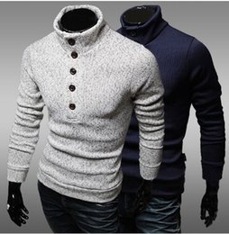 Wholesale Natural Decorative - 2016 new Brand clothing High quality single row button decorative sweater slim jumper men half high necked sweater Free shipping