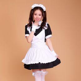 Wholesale Maid Uniform Cute - Wholesale-Halloween Costumes for Women Coffee House Waitress Uniforms Cute Girl dress Anime Maid Cosplay Costume