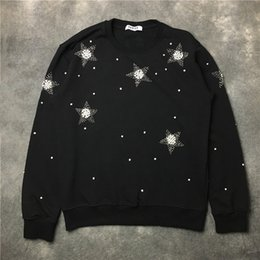 Wholesale Top Selling Coat - New 2017 hot sell Top fashion brand men women rhinestone Pentagram Long sleeve pullover coat sports sweatshirt men starry sky Casual jacke
