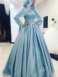 Wholesale White Shirts Puffy Sleeves - Vintage Muslim Evening Gown High Neck Lace Applique Puffy Skirt Satin Arabic Formal Prom Dress Quinceanera Sweet 16 Dresses 15 Years Custom