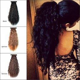"Wholesale Curly Pony Tail Hair Extensions - Sara 55cm,22"" Puffs Ponytails Pat Circle Kinky Curly Ponytail Clip in Hair Extension Black Brown Synthetic Ponytail Pony Tail for Women"