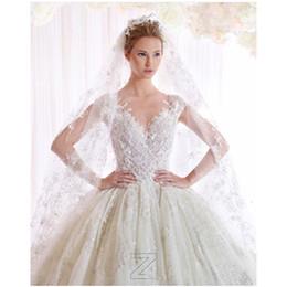 Bordado rendas vestidos brancos on-line-Vestido De Noiva Branco Marfim V Neck Vestidos De Casamento 2016 Vestido de Baile Designer Novo 2016 Primavera Rendas E Tule Bordado Vestido De Noiva De Casamento