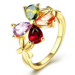 Wholesale Star Couple Rings - 2016 Romantic Creativity Clover Ladies Ring Star Shape Couples Ring Inlay Violet Olive Green Champagne Color Zircon Friendship Ring