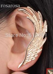 Wholesale Wing Top Ear Cuff - Wholesale-Hot sale 2015 Gold Plated Wing Earring Clip Female Ear Cuffs Top Fashion Clip Earring Ear Cuff (3pcs or more 15%off)