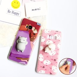 Wholesale Phone Cover Galaxy S4 - Cartoon Squishy Toys Phone Case for Samsung S8 S6 S7 EDGE Soft Cute Animal Stress relief Cases Cover for Galaxy S8 S3 S4