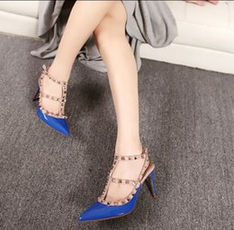 Wholesale Cool Decks - New Trend Concise Point Toe Ladies' Love Shoes Rivets Decked Cut Outs Buckled Slingback Pumps Ankle Strap Thin Heel Cool Shoes