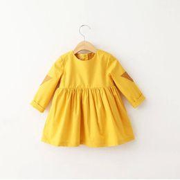 Wholesale Toddler Fur Dresses - 2017 INS New Autumn Winter Girls Long Sleeve Dresses Children Princess Cotton Yellow Tutu Dress Baby Infant Toddler Party Clothing Dress