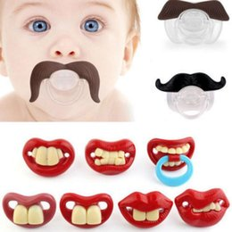 Wholesale Moustache Baby - Useful Funny Teeth Mustache Baby Infant Pacifier Orthodontic Dummy Nipples baby funny Moustache tooth Pacifiers KKA2387