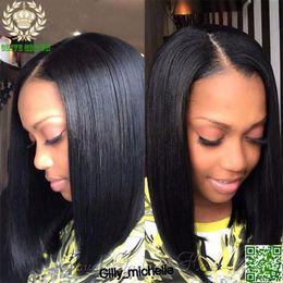 Wholesale 24 U Part Wigs - Peruvian Human Hair Glueless Short Bob U Part Wig Silky Straight Hair Unprocessed U Part Human Hair Wig For Black Woman