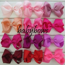 Wholesale Girls Boutique Bows - Wholesale- 50pcs lot Solid Hair Ribbon Bows WITHOUT Clips Girls Bow For Kids Hair Accessories Boutique Headwear Free Shipping