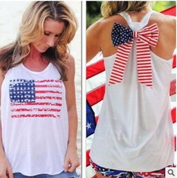 Wholesale T Back Tank Tops Women - tanks tops vest women summer new women's printing sleeveless vest back bow casual t-shirt blouse camis bohemian beach holiday seaside tops