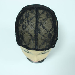 Wholesale Caps Net Wig - 5PCS Black color wig Full cap net Jewish Base wig caps for making wigs Glueless lace Wig Caps Adjustable Strap On the Back