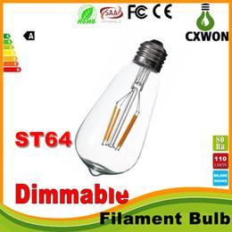 Süper parlak kısılabilir E27 ST64 Edison Stil Vintage Retro COB LED Filament Ampul Lamba Sıcak Beyaz 85-265 V retro LED filament ampul cheap led filament bulbs edison nereden led filament ampuller edison tedarikçiler