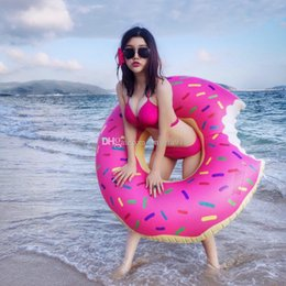 Wholesale Swimming Pool Water Balls - Fast Inflatable donuts Swimming laps Water supplies 120cm Lifebuoy Inflatable Adult super-sized Thicken DHL shipping C1153