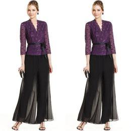 Wholesale Contrast Pictures - Elegant 2016 Black Chiffon Mother Of The Bride Two Pieces Formal Pant suits Modest Purple Lace 3 4 Long Sleeve With Sash EN4126