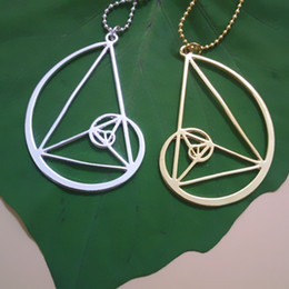Wholesale Triangle Circle Pendant - wholesale 20pcs lot Golden triangle necklace - Fibonacci - golden ratio With 50cm chain free shipping
