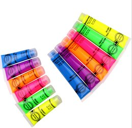 Wholesale Uv Inks - In Stock New Colorful Neon UV Bright Face Body Paint Fluorescent Rave Festival Painting 13ml Halloween Professional Painting Beauty Makeup