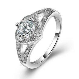 anillos en forma de corazón de oro rosa Rebajas Anillo de bodas Diseño clásico Plateado o chapado en oro rosa 4 púas Forma de corazón de 6 mm Diamantes simulados Anillos de promesa para mujeres