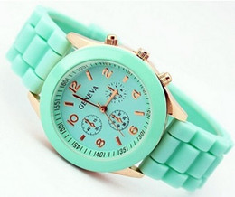 Wholesale Geneva White Rose Gold Watch - Casual Watch Geneva Unisex Quartz watch 14color men women Analog wristwatches Sports Watches Rose Gold Silicone watches Dropship