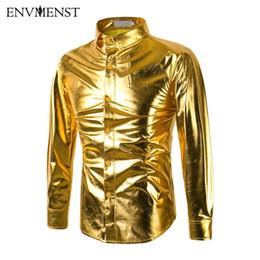 Argentina Al por mayor- 2017 Stage Dance camisa de vestir Slim Fit hombres camisas brillantes camisas de manga larga de lujo negro / oro / hombres de plata camisas Chemise Homme supplier dan silver Suministro
