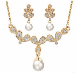 Wholesale Gold Tone Bridesmaid Jewelry - Cheap Jewelry For Women Silver Gold Tone Pearl Rhinestone Crystal Diamante Wedding Bridal Necklace and Earrings Bridesmaid Jewelry