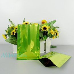 Wholesale Laminated Bag Wholesale - 8X12cm green flat bag-200pcs pack aluminum plating electronic accessory pouch, heat open sealed plain pocket with tear notch