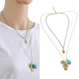 Wholesale Lucky Brand Necklaces - Brand New Gold Plated Lucky Protection Hamsa Fatima Hand Evil Eye Pendant Chain Necklace 1 Pcs Free Shipping[JNF0014]