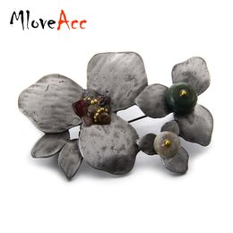 Wholesale Vintage Safety Pins - MloveAcc Vintage Antique Color Metal Brooch Jewelry Stone Bouquet Brooches Women Safety Leaves Pins Clothes Accessories