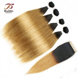 Wholesale Three Bundles Hair - 4 Bundles with Lace Closure Ombre Human Hair Weaves Silky Soft Colored Malaysian Straight Hair T1b 27 Dark Root Honey Blonde Extensions