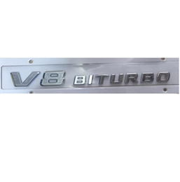 Wholesale Chrome Body Side - Chrome Flat V8 BITURBO Letters Trunk Side Emblem Badge Sticker for Mercedes Benz