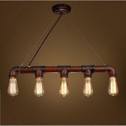 Wholesale Copper Water Pipes - 2016 new arrovals Retro Industrial Edison Bulbs 5 Heads Pendant Light Iron Water Pipe Copper Color Dining Room Bedside Cafe Shore Decor Drop