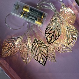 Wholesale Leaves String Lights - Wholesale- 1.6m 10led Metal leaf String Light Customized length Silver Gold Tree Leaves LED String Lamp For Birthday Festival Room Decor