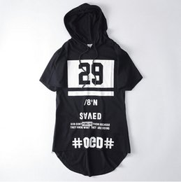 Wholesale Mens Hooded T Shirts - Fashion hip hop hooded t shirt mens casual sport side zipper extended streetwear women harajuku swag clothes rock tee shirts