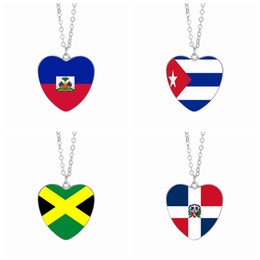 cabochon pendants 25mm Coupons - Haiti Flag Pendant Necklaces 25mm Heart Glass Cabochon Cuba Jamaica Dominican Caribbean Countries Flags Women Jewelry Wholesale