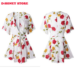 Wholesale Two Colors Summer Dress - Women floral printed summer dress 2016 white red two colors 1 2 sleeve deep V neck vintage dress short hippie vestidos femininos dress