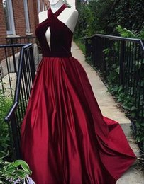 Wholesale Keyhole Halter Top - Sexy Burgundy Evening Dresses 2018 A Line Halter Backless Velvet Top Satin Skrit Sweep Train Prom Gowns Plus Size Custom Made SE094