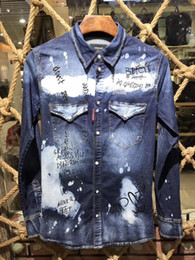 Wholesale Slim Denim Shirt - 2017 New arrival famous luxury italian Brand 2 Men's Casual Shirts slim fit spring autumn denim shirts men long sleeve fashion 46 48 50 52