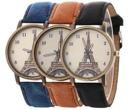 Wholesale Watch Paris - 2017 wholesale new fashion unisex mens women cowboy paris eiffel tower leather watch ladies casual dress quartz wrist watches