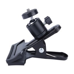 Wholesale Camera Flash Mounting Brackets - Camera Clip Photography Metal Clip Clamp Holder Mount with Standard Ball Head 1 4 Screw for Camera Flash Holder Bracket