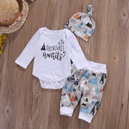 Wholesale Girls Legging Top Sets - Wholesale- Children Baby Boys Girls Clothes Set Cute Infant Top Pant Legging Hat 3pcs Cute Outfits Set Clothing
