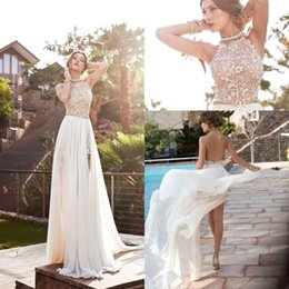 Wholesale Halter Neck Pleated Dress - 2017 Sexy Cheap Julie Vino Summer A line Lace Wedding Dresses Halter Backless vestido de novia Split Beach Bridal Gowns BO5557