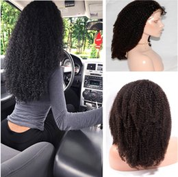 Wholesale Cheap Human Hair Afro Wigs - Cheap 100% Peruvian full lace human hair wigs natural human afro kinly curly hair wigs glueless lace front wigs with baby hair
