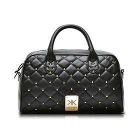 Wholesale Kim Kardashian Bags - Wholesale high quality PU handbags kim Kardashian plaid rivet shoulder bag famous brand handbag women messenger bags