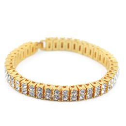 Wholesale 14k Box Chain - Hip hop Men Bracelet Silver Gold Plated Iced Out 2 Row Rhinestones Bracelet 20.5cm*0.8cm Chain Clear Simulated Diamond Bracelet Men Women