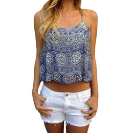 Wholesale Cheap Crop Top Tees - Wholesale-Women Summer Style Crop Top Ethnic Print Camis Tee T Shirt Sexy camisa feminina Casual Cropped blusas roupas cheap clothes 2016